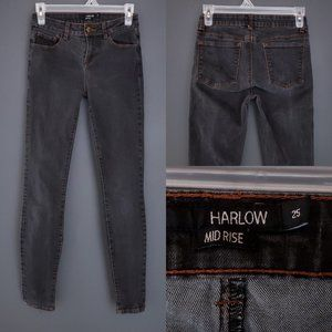 HARLOW Skinny Jeans Stretch Black Mid Rise Zip